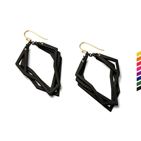 Solitaire earrings, 3D printed nylon