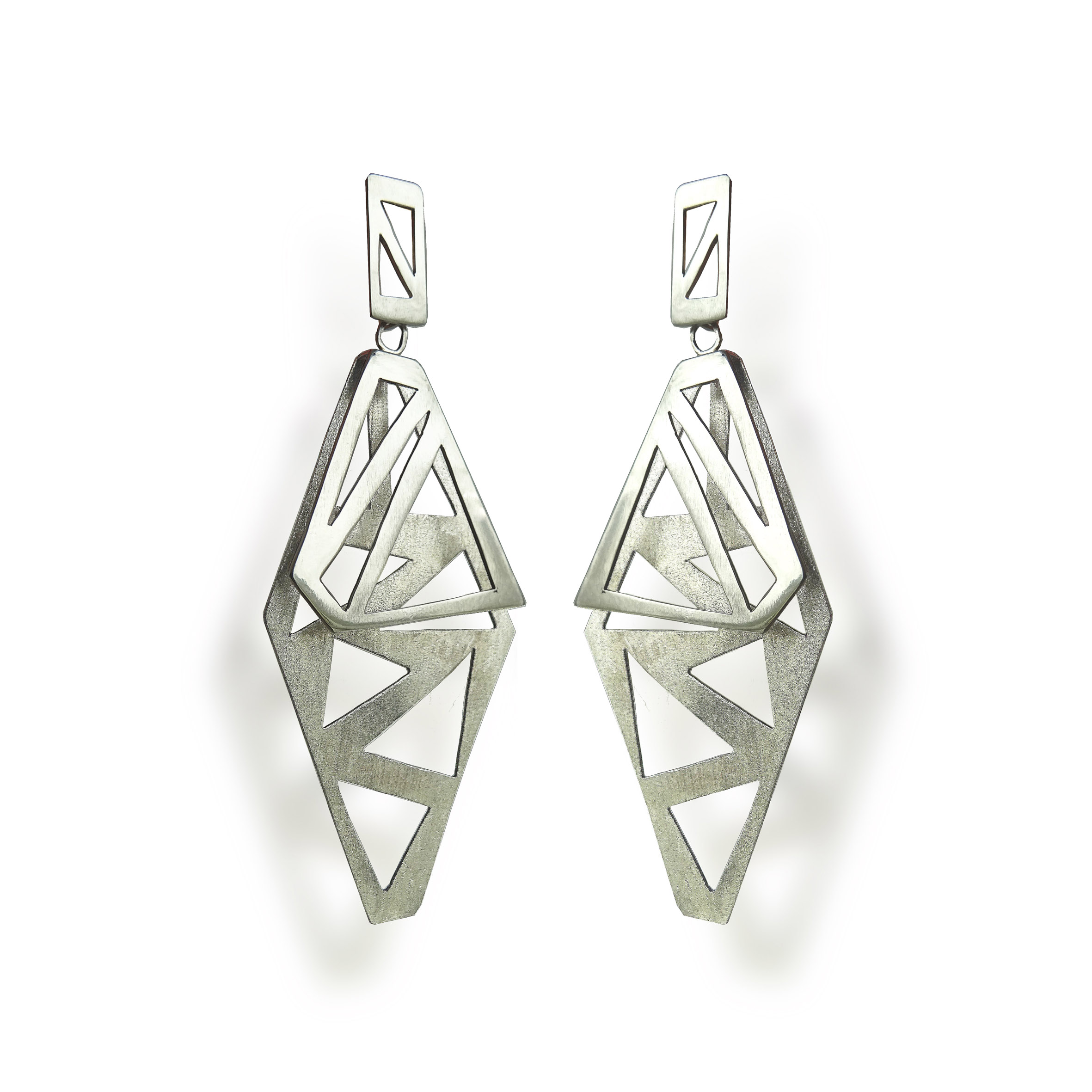 concrete architecture earrings fashion product view in black gray