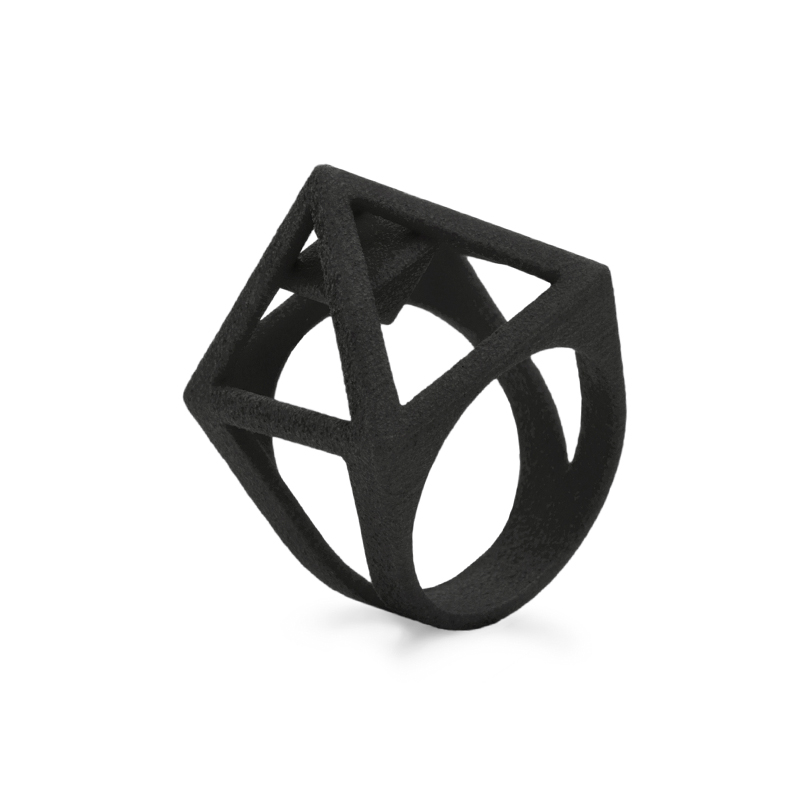 Nefertiti ring, 3D printed nylon - black