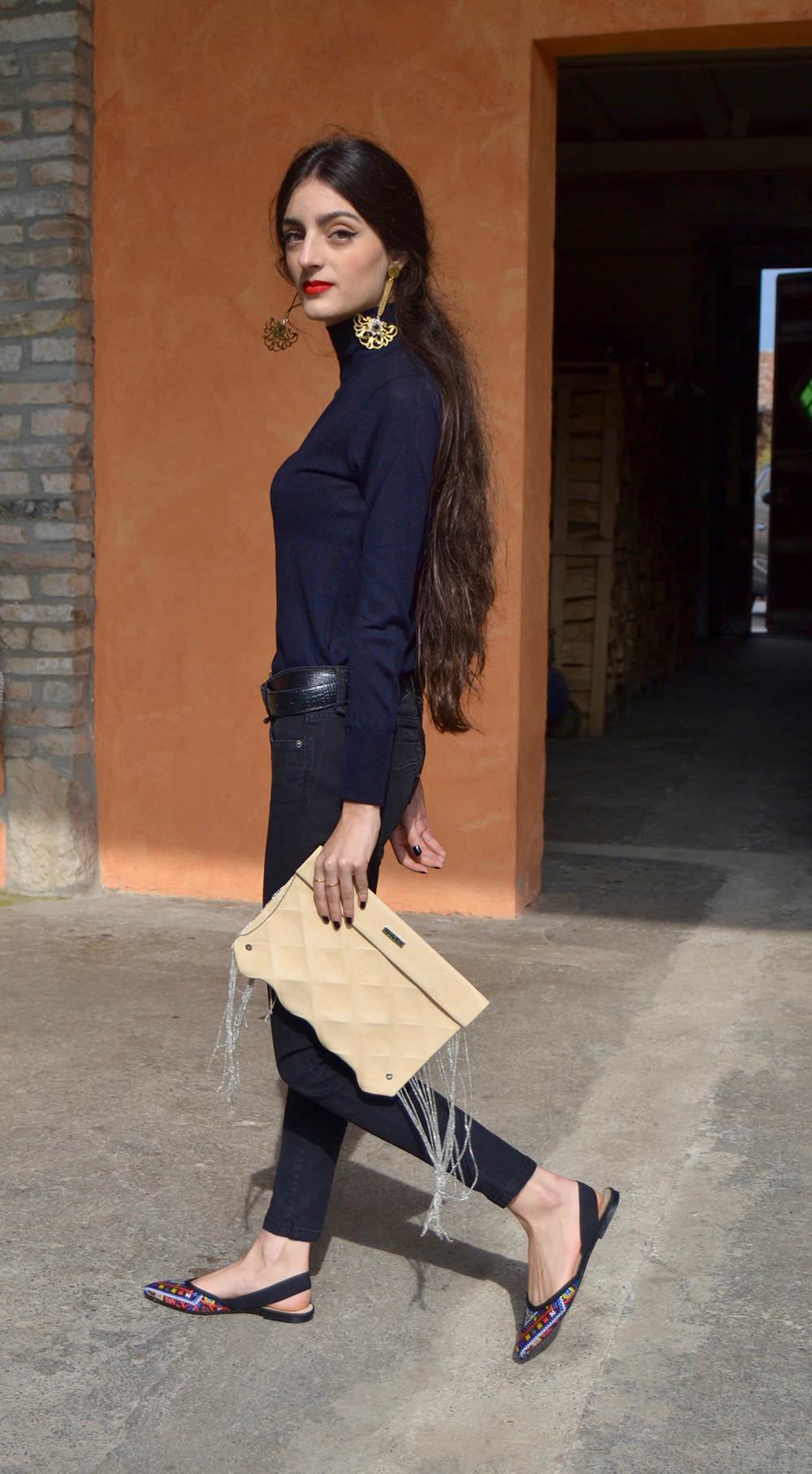 eco leather clutch Origami - M - fringes - BEIGE