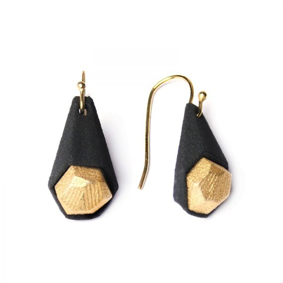 Calyx earrings, 3D printed nylon, steel, gold