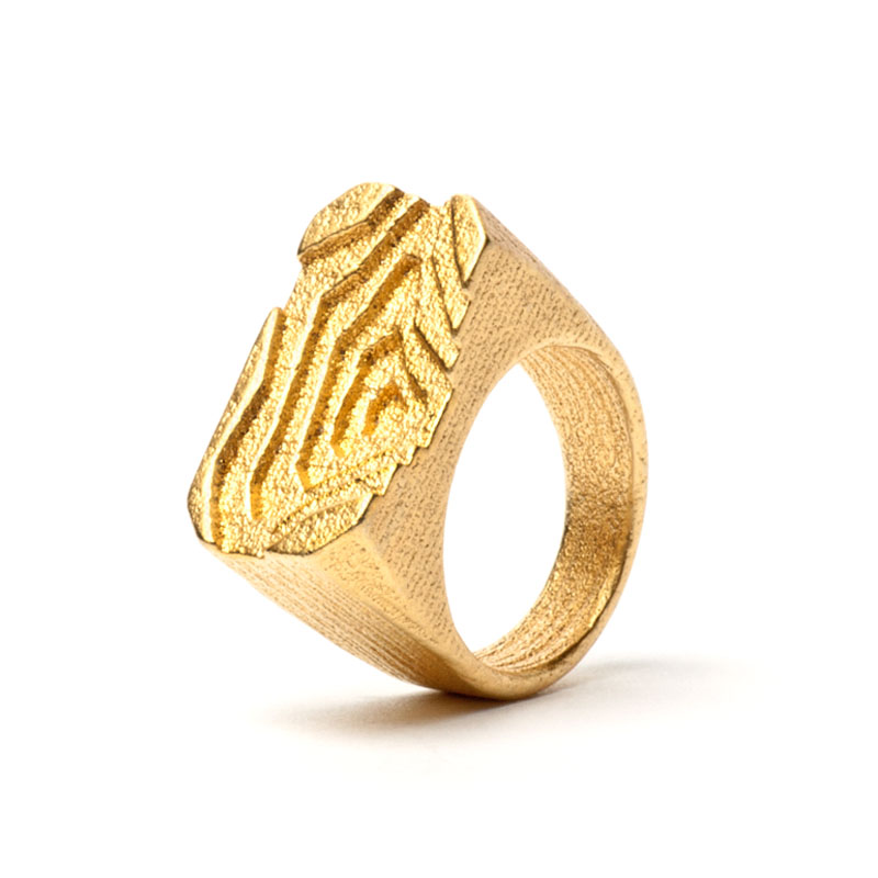 Pit height model ring,3D printed steel/gold plated