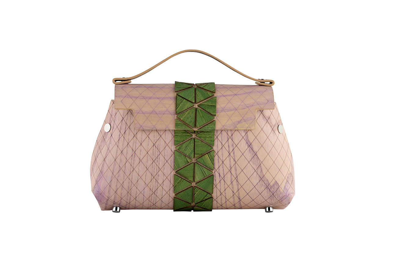 WOODEN MINI BAG GRACE - PINK AND GREEN