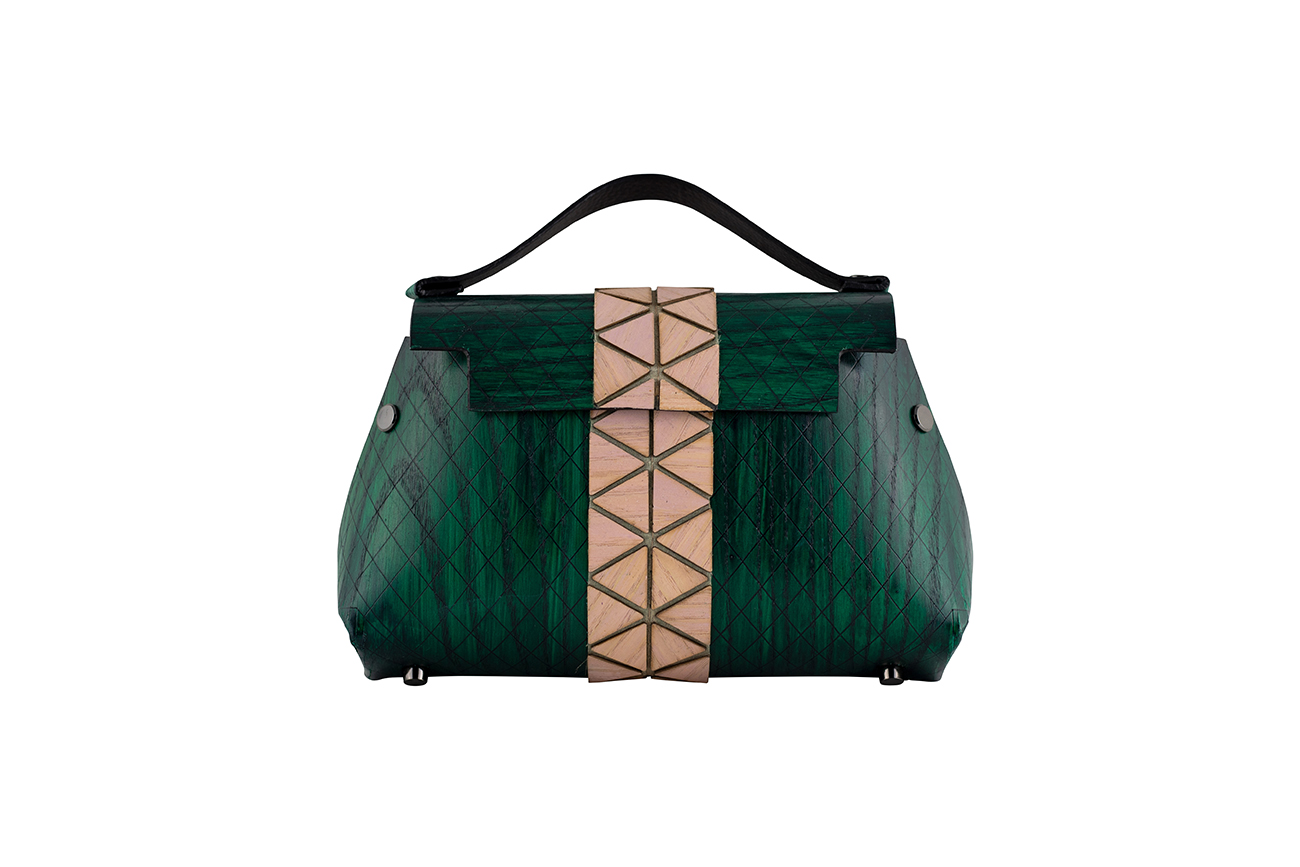 WOODEN MINI BAG GRACE - GREEN AND PINK