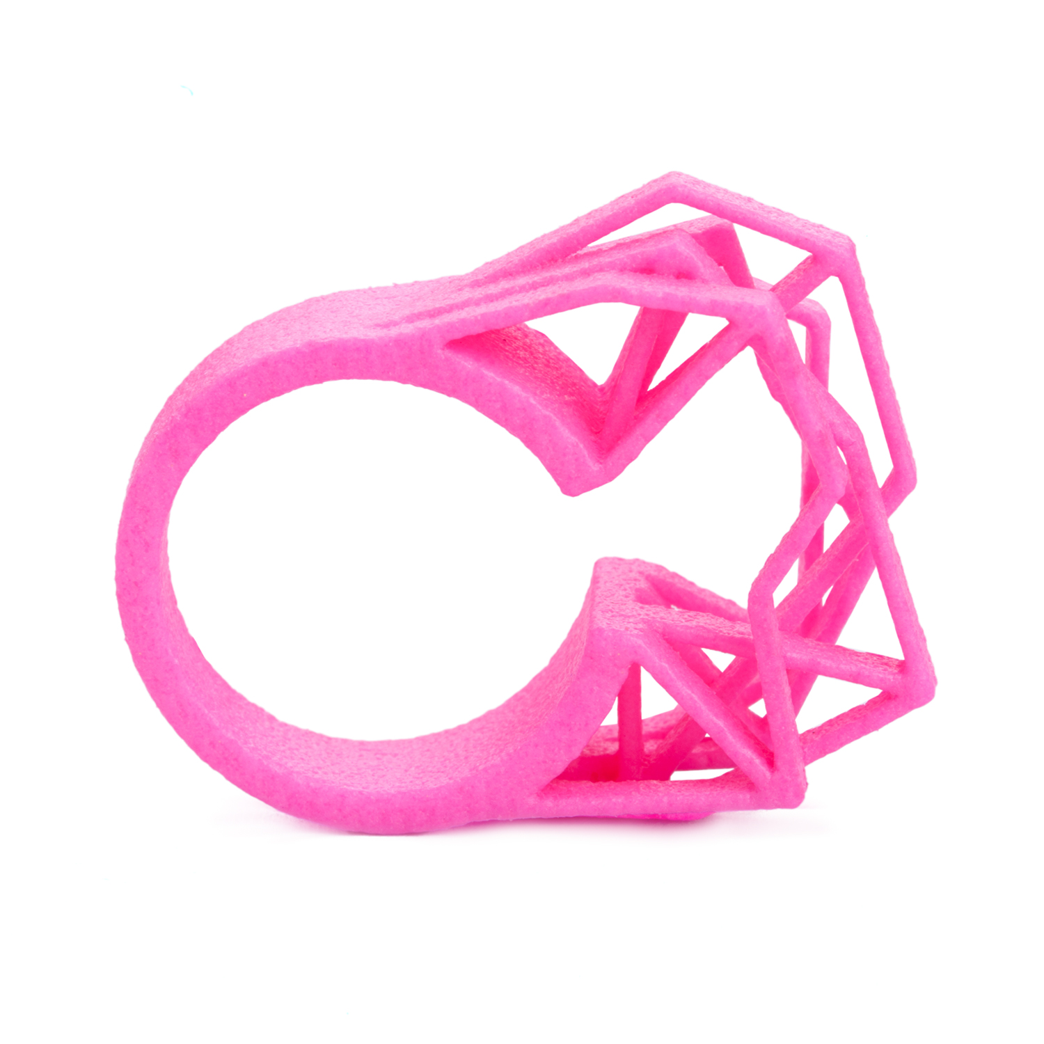 Solitaire ring NEON, 3D printed nylon, pink