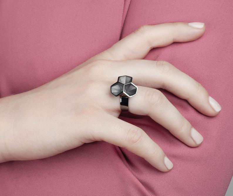 Calyx ring, 925 silver - rhodium plated