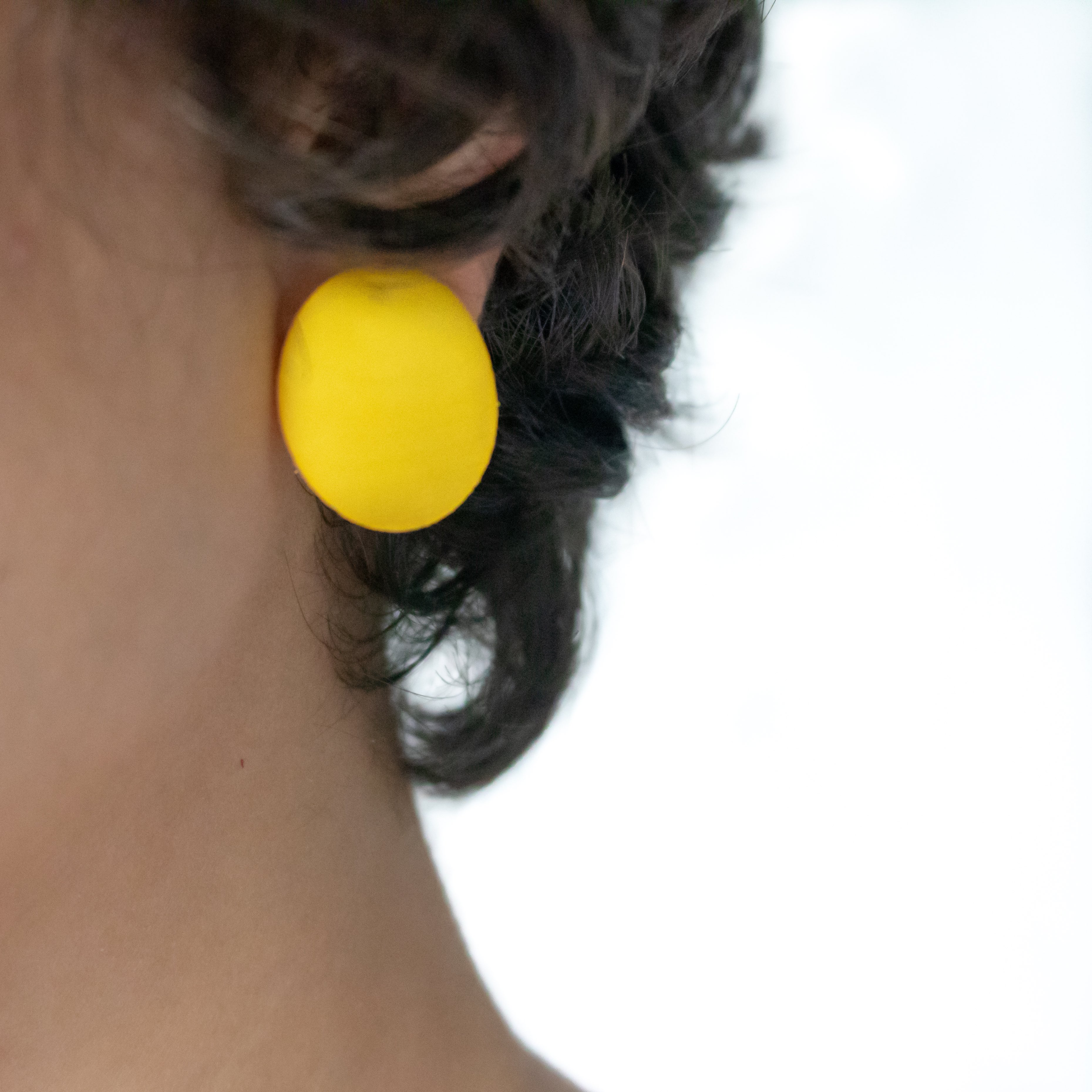 Minimal earrings Yellow with silver 925