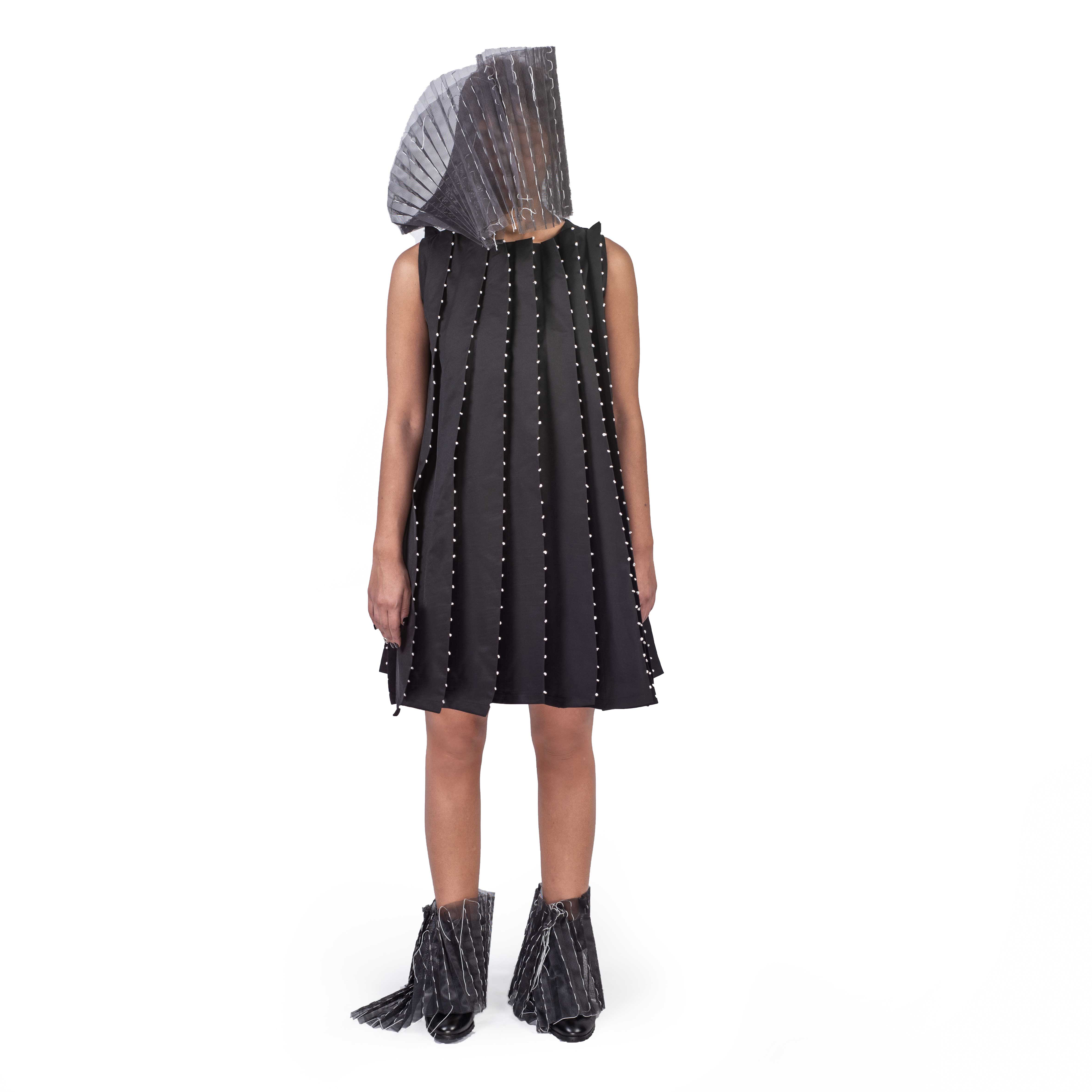 Folded Dress with White Small Dots