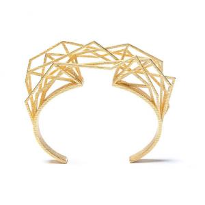 Solitaire bracelet, 3D printed steel - gold plated