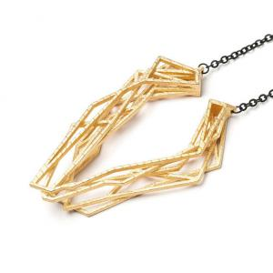 Solitaire necklace, 3D printed steel - gold plated