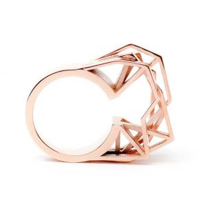 Solitaire ring, 3D printed brass - rosegold plated