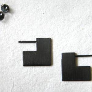 Square sterling silver earrings.