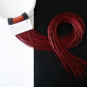 Bold choker necklace with long fringes in copper