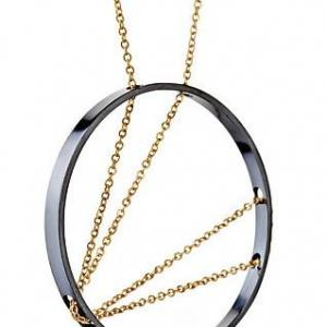ARC NECKLACE IN OXIDIZED SILVER AND GOLD