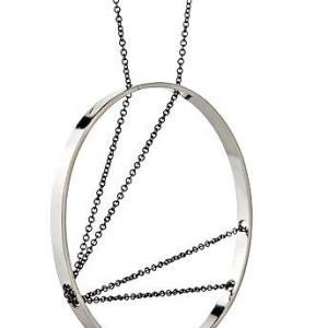 ARC NECKLACE STERLING SILVER AND OXIDIZED CHAIN