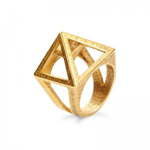 Nefertiti ring, 3D printed steel - gold plated
