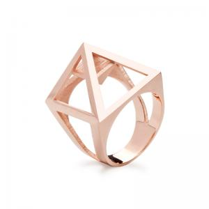 Nefertiti ring, 3D printed brass - rosegold plated
