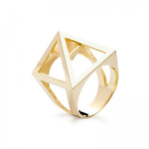 Nefertiti ring, 3D printed brass - gold plated