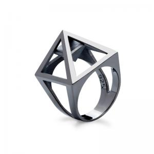 Nefertiti ring, 3D printed silver - rhodium plated