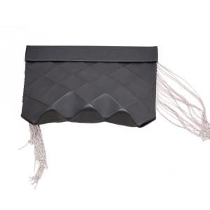 eco leather clutch Origami - M - fringes - BLACK