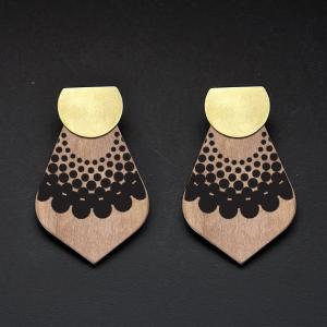 Reversible Wooden Earrings/Metal Stud/BR-CIR-HDG
