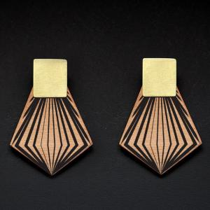 Reversible Wooden Earrings/Metal Stud/BR-SQU-HCL