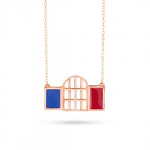 Archi Necklace with Enamel in gold plated bronze
