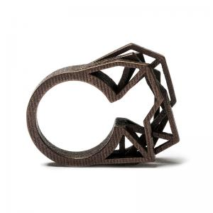 Solitaire ring, 3D printed steel - bronze plated