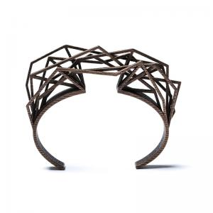 Solitaire bracelet, 3D printed steel bronze plated