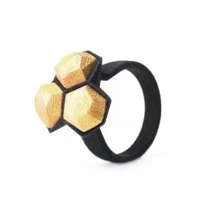 Calyx ring, 3D printed nylon and gold plated steel