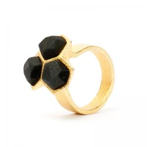 Calyx ring, 3D printed gold plated steel and nylon
