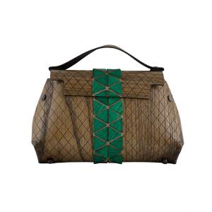 WOODEN MINI BAG GRACE - LIGHT BROWN AND GREEN