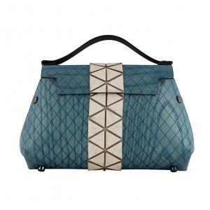 WOODEN MINI BAG GRACE - LIGHT BLUE AND WHITE