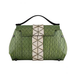 WOODEN MINI BAG GRACE - GREEN LIGHT AND WHITE
