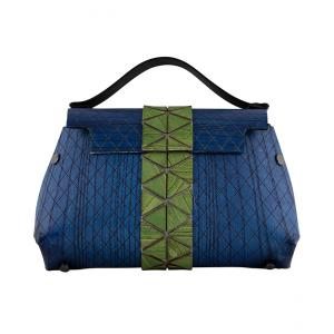 WOODEN MINI BAG GRACE - BLUE AND GREEN