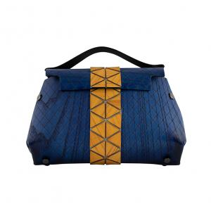 WOODEN MINI BAG GRACE - BLUE AND YELLOW