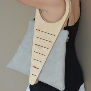 Shoulder Bag from Plywood and Grey Faux leather