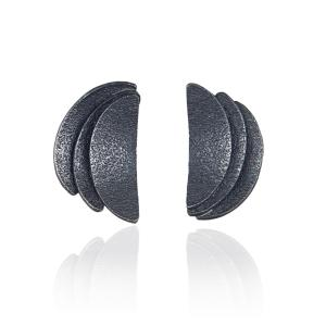 Contemporary Handmade Semicircle Earrings Oxidized