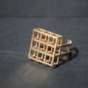 Pixel 3D Printed Bronze Ring