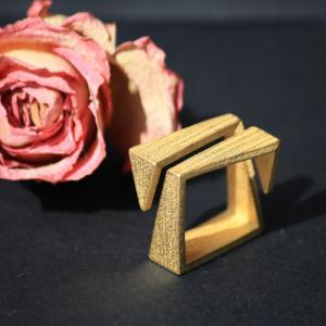 Ziggy Ring - 3D Printed Steel - Gold Plated