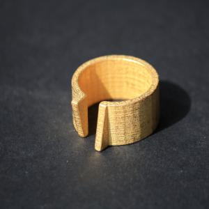Tria Ring - 3D Printed Steel - Gold Plated