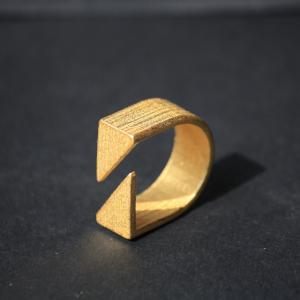 Gap Ring - 3D Printed Steel - Gold Plated
