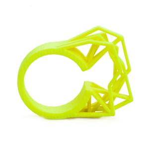 Solitaire ring NEON, 3D printed nylon, yellow