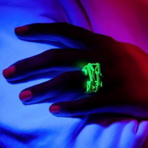 Solitaire ring NEON, 3D printed nylon, green