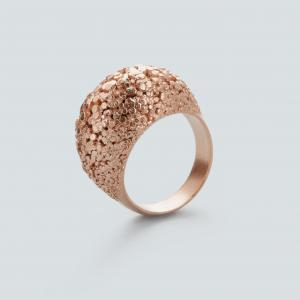 Crystal ring, 3D printed brass - rosegold plated
