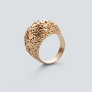 Crystal ring, 3D printed brass - gold plated