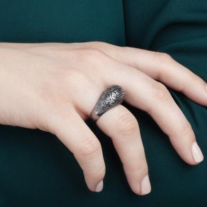 Crystal ring, 3D printed 925 silver-rhodium plate