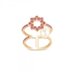 Noor Double Ring 18k Yellow Gold  And Pink Sapphir