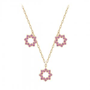 Noor Charm 18k Yellow Gold Pink Sapphires Necklace