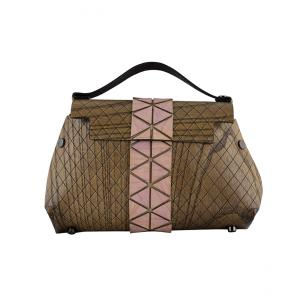 WOODEN MINI BAG GRACE - LIGHT BROWN AND PINK